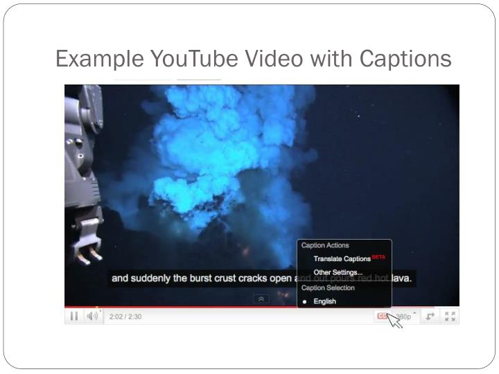 Example YouTube Video with Captions