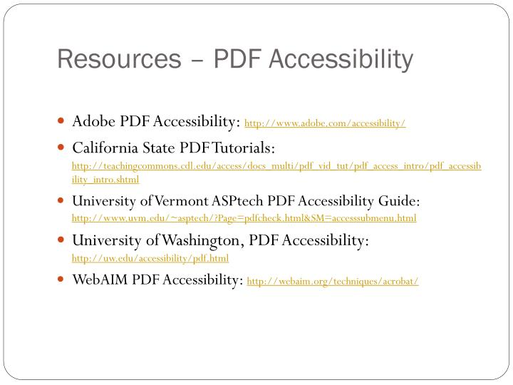 Resources – PDF Accessibility