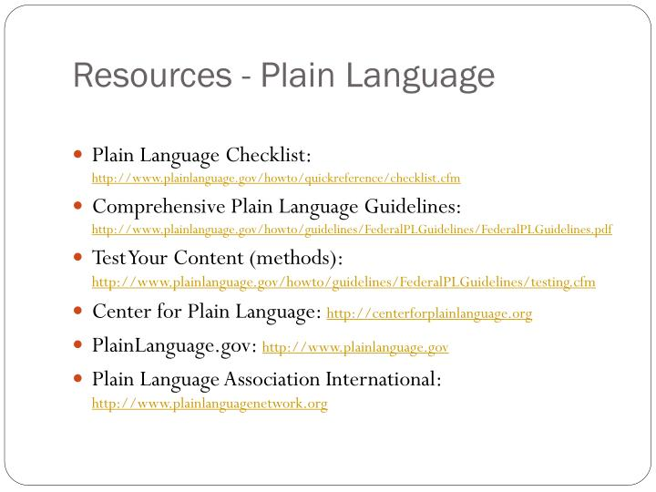 Resources - Plain Language