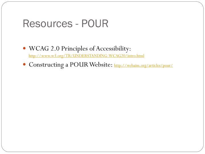 Resources - POUR