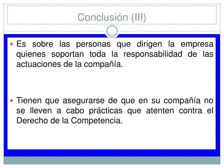Conclusión (III)
