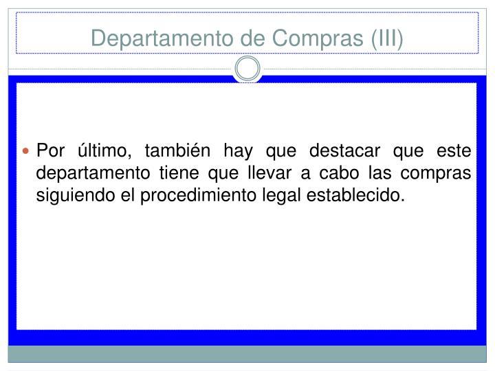 Departamento de Compras (III)