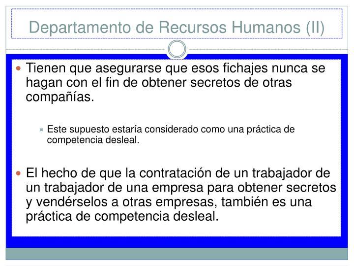Departamento de Recursos Humanos (II)