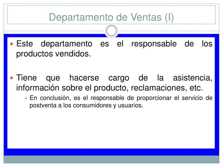 Departamento de Ventas (I)
