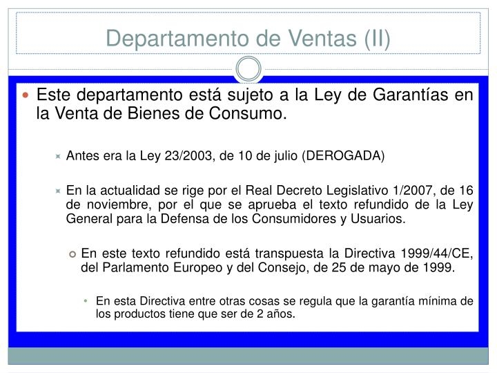 Departamento de Ventas (II)