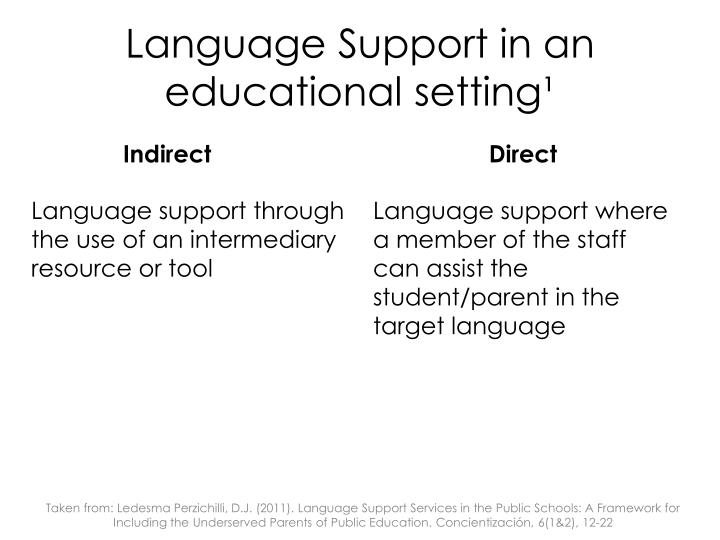 Language Support in an educational