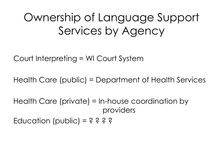 Ownership of Language Support Services by Agency
