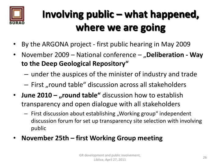 Involving public – what happened, where we are going