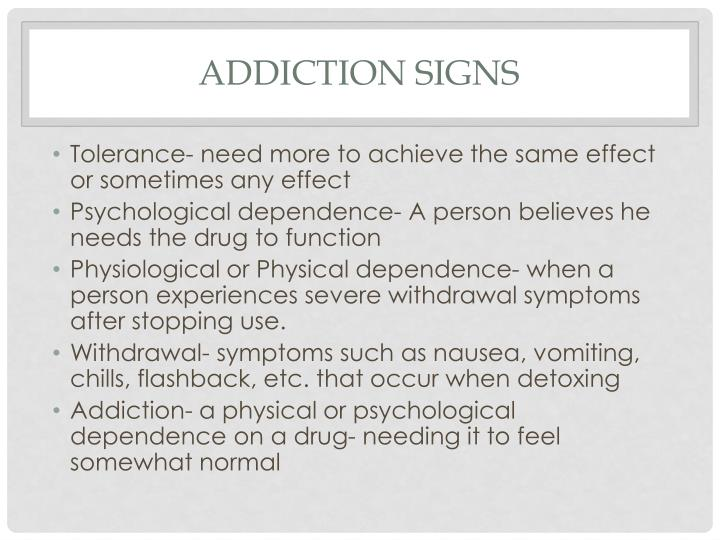 Addiction Signs