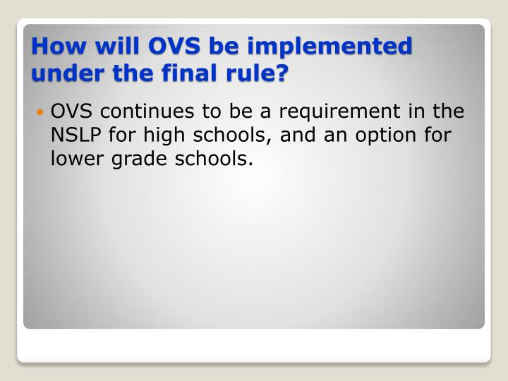 OVS continues to be a requirement in the NSLP for high schools, and an option for lower grade schools.