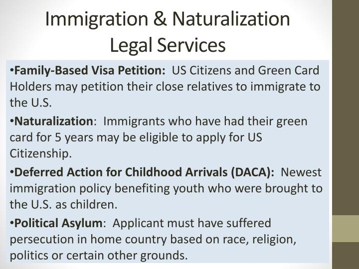 Immigration naturalization legal services
