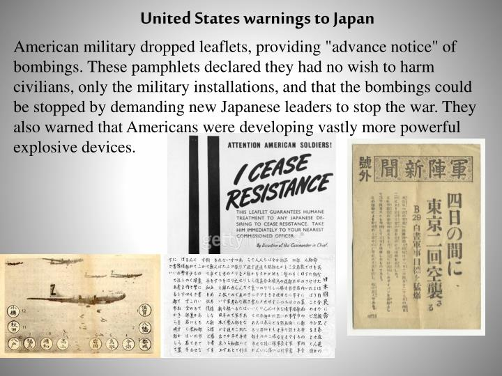 United States warnings to Japan