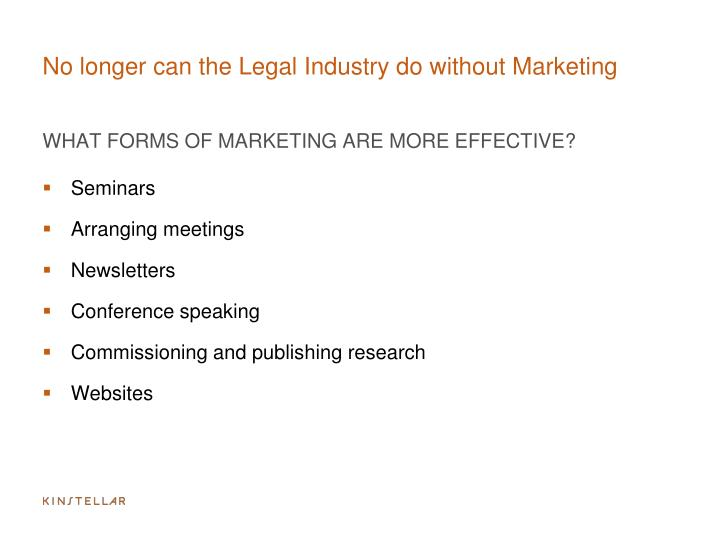 No longer can the Legal Industry do without Marketing