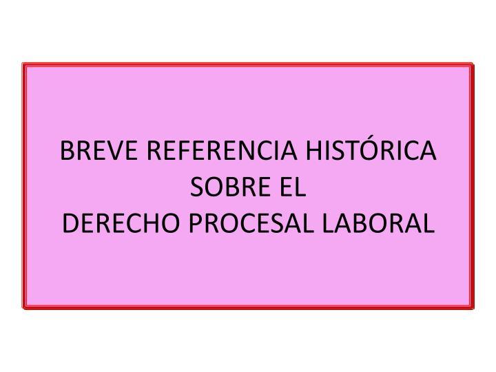 BREVE REFERENCIA HISTÓRICA SOBRE EL