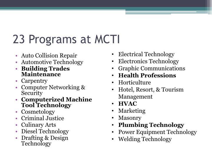 23 Programs at MCTI