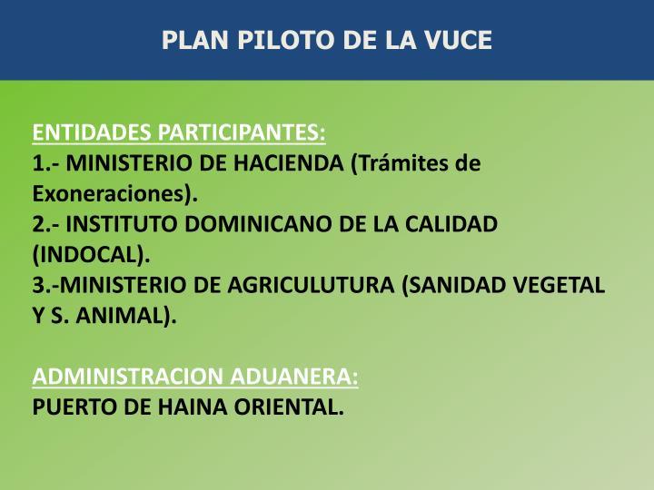 PLAN PILOTO DE LA VUCE