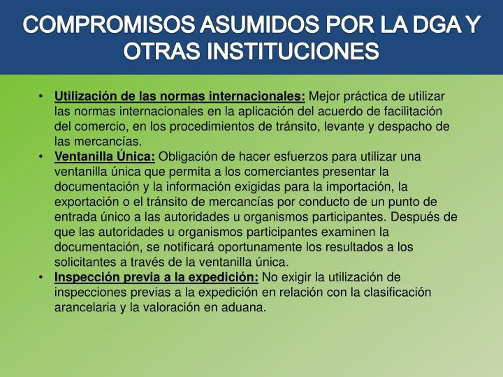 COMPROMISOS ASUMIDOS POR LA DGA Y OTRAS INSTITUCIONES