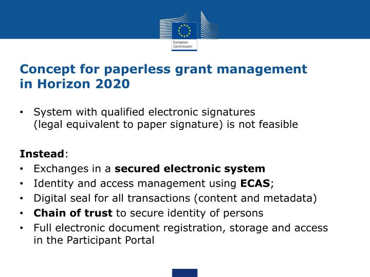 Concept for paperless grant management