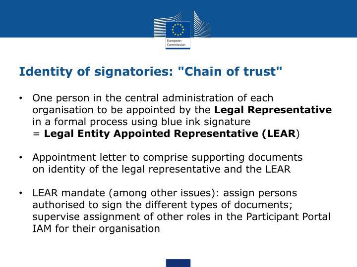 "Identity of signatories: ""Chain of trust"""