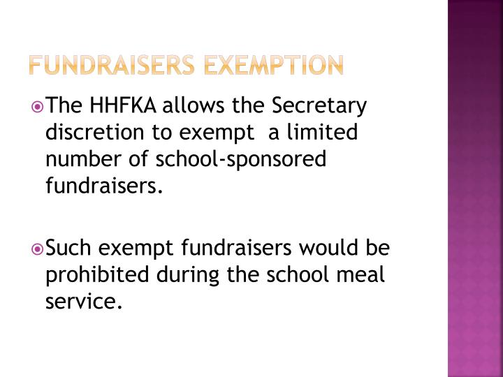 Fundraisers Exemption