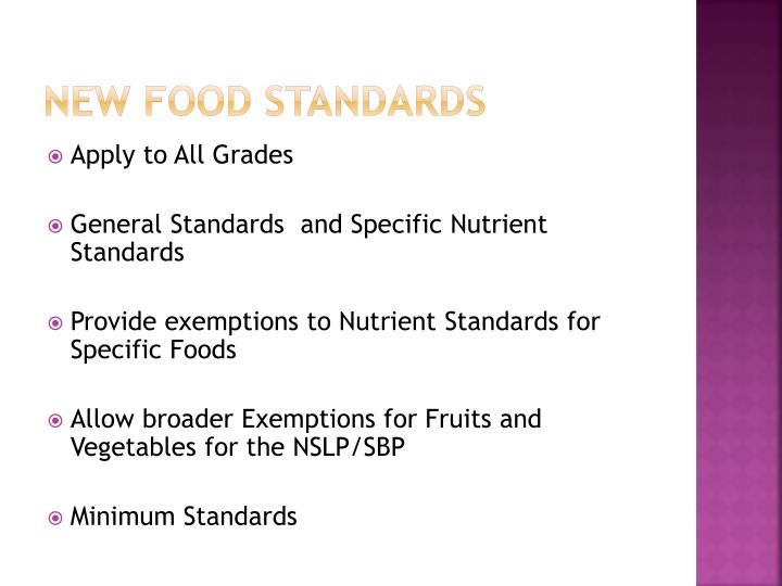 New Food Standards