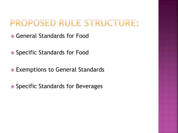 Proposed Rule Structure: