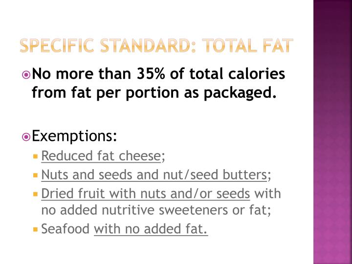 Specific Standard: Total Fat