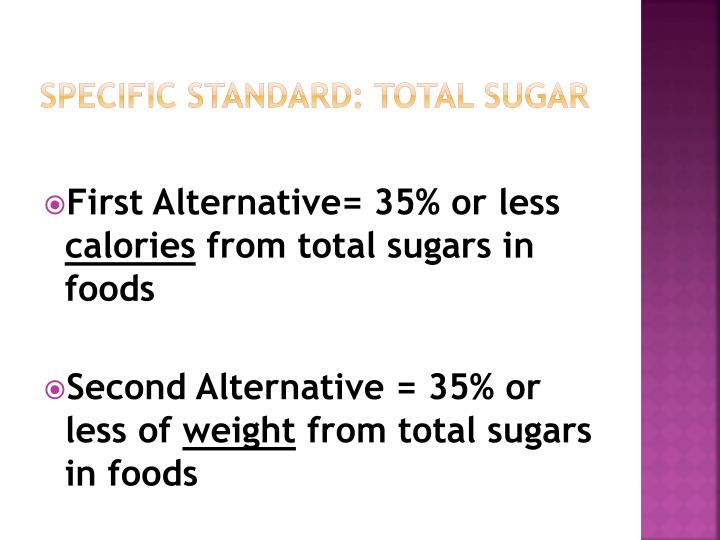 Specific Standard: Total Sugar