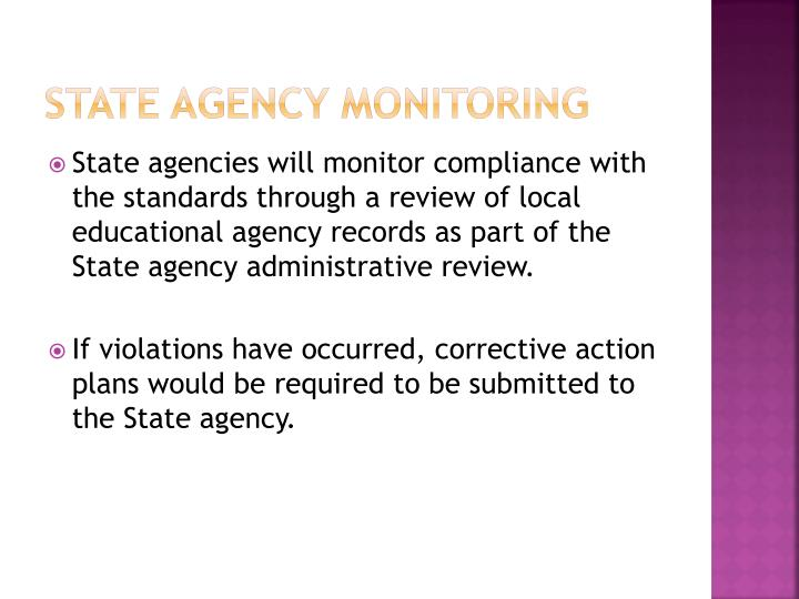State Agency Monitoring