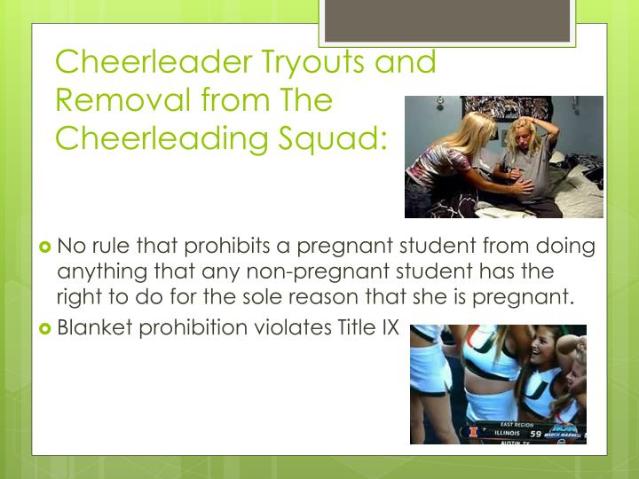 Cheerleader Tryouts and Removal from The Cheerleading Squad: