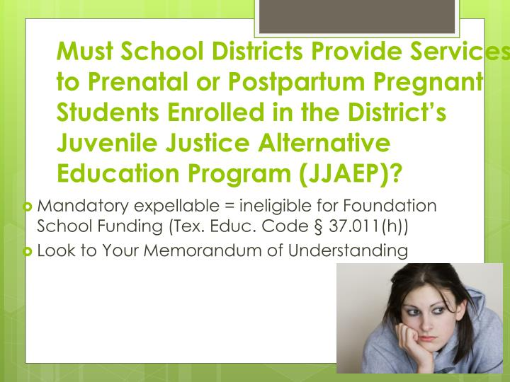 Must School Districts Provide Services to Prenatal