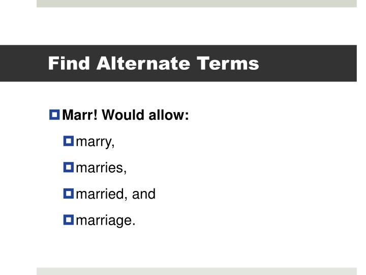 Find Alternate Terms