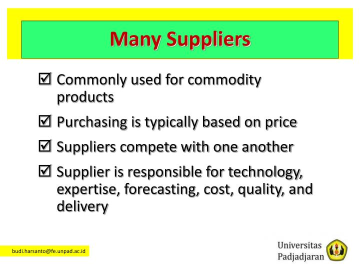 Many Suppliers