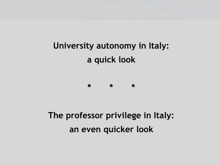 University autonomy in Italy: