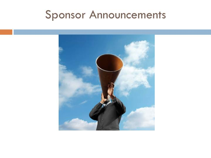 Sponsor Announcements