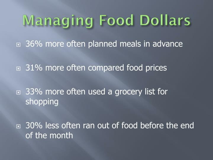 Managing Food Dollars