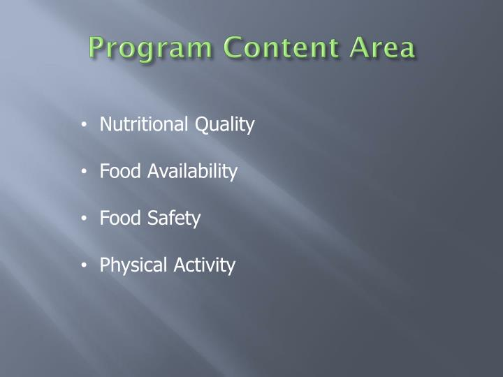 Program Content Area