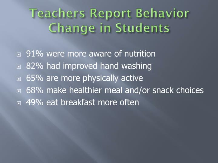 Teachers Report Behavior Change in Students