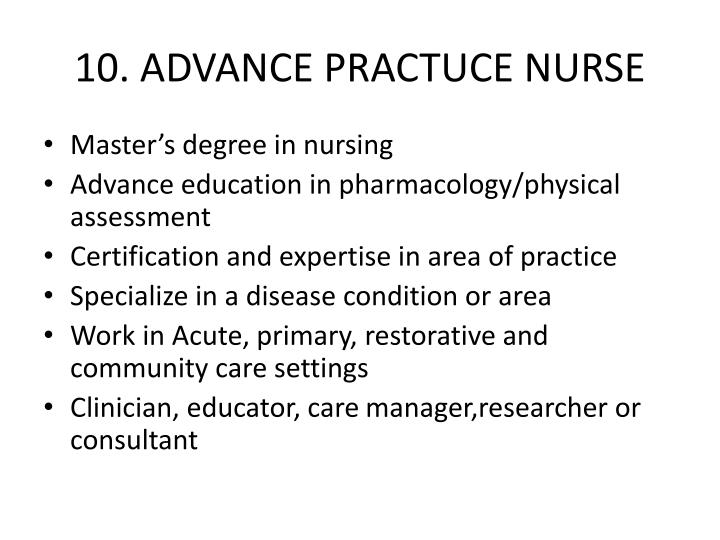 10. ADVANCE PRACTUCE NURSE