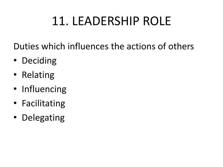 11. LEADERSHIP ROLE