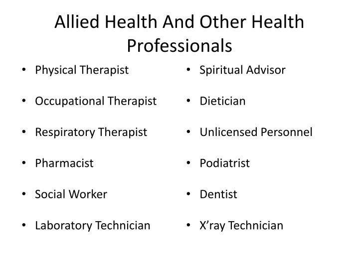 Allied Health And Other Health Professionals