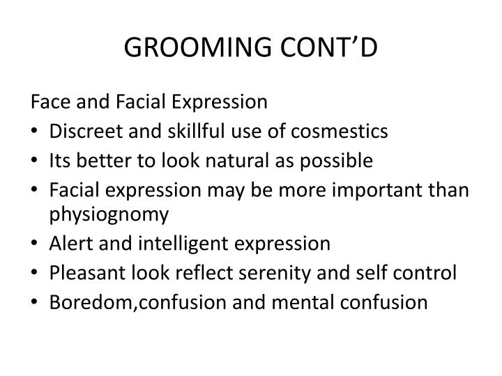 GROOMING CONT'D