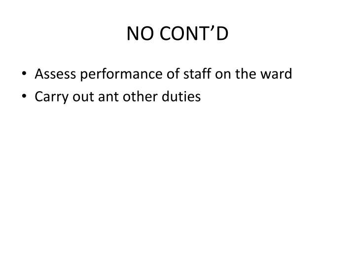 NO CONT'D