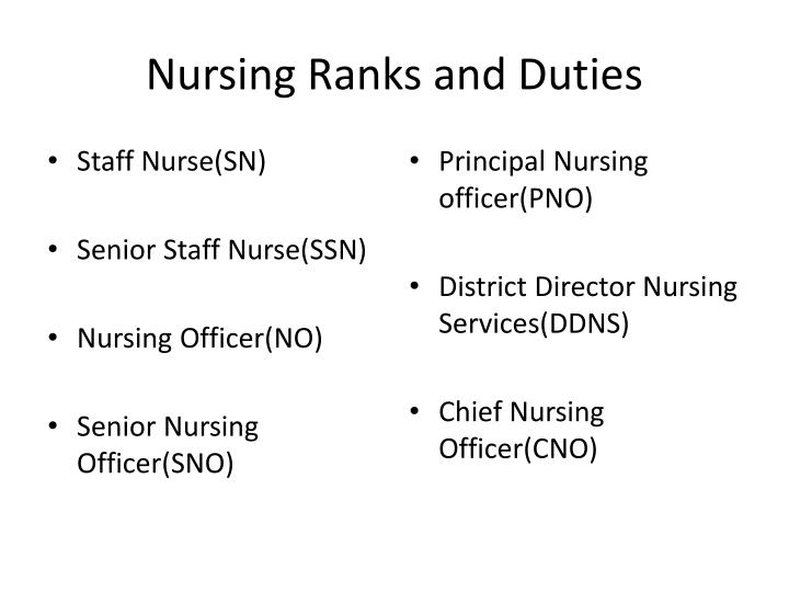 Nursing Ranks and Duties