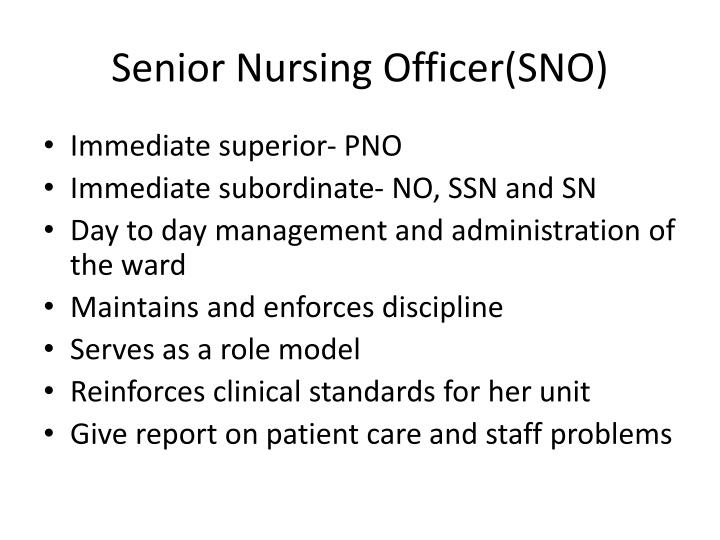 Senior Nursing Officer(SNO)