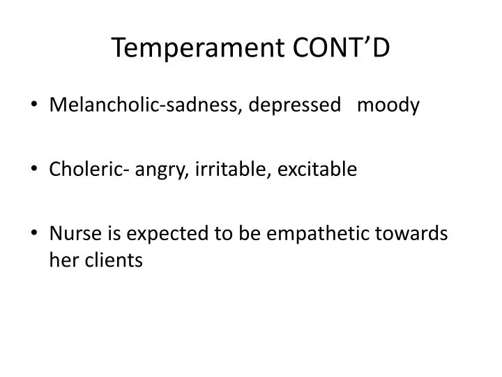 Temperament CONT'D