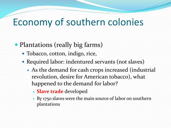 Economy of southern colonies