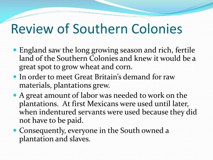 Review of Southern Colonies