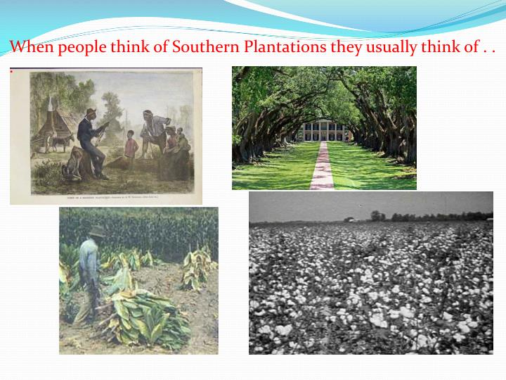 When people think of Southern Plantations they usually think of . . .
