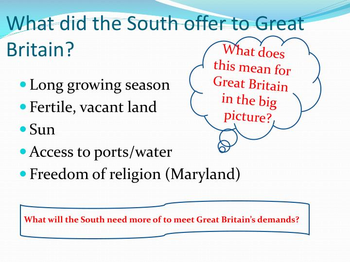 What did the South offer to Great Britain?